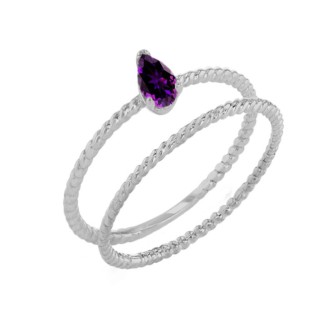 Modern Dainty Genuine Amethyst Pear Shape Rope Ring Stacking Set in White Gold