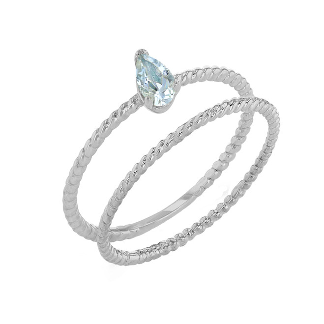 Modern Dainty Genuine Aquamarine Pear Shape Rope Ring Stacking Set in White Gold