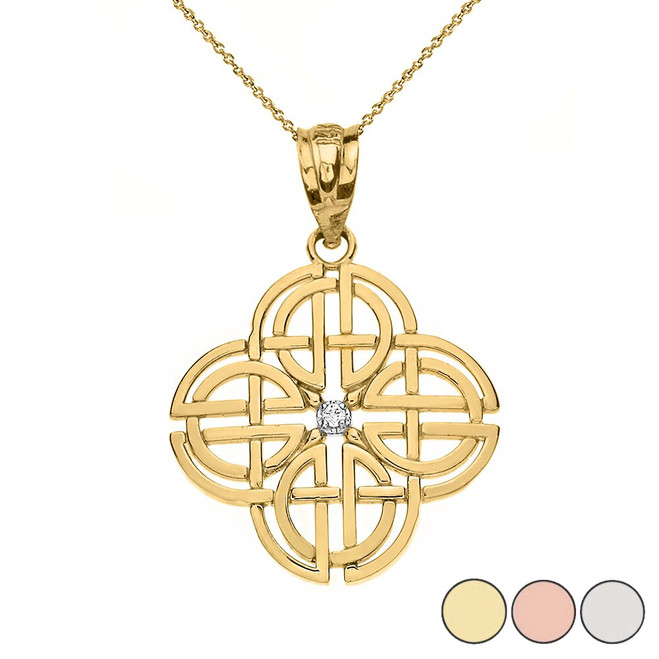 Single Diamond Celtic Knot Geometric Circular Pendant Necklace in Solid Gold (Yellow/Rose/White)
