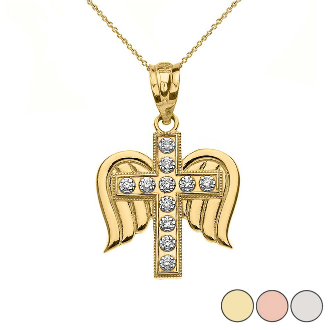 Diamond Winged Cross Pendant Necklace in Gold (Yellow/Rose/White)