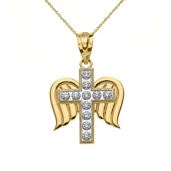 Solid Two Tone Yellow Gold Diamond Winged Cross Pendant Necklace