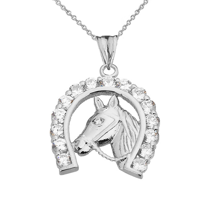Lucky Horseshoe Statement Pendant Necklace in Sterling Silver