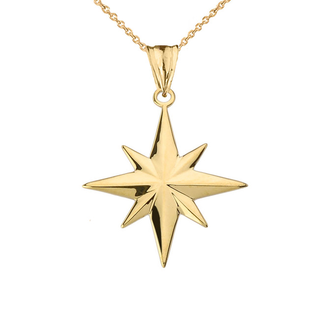 North Star Pendant Necklace in Yellow Gold
