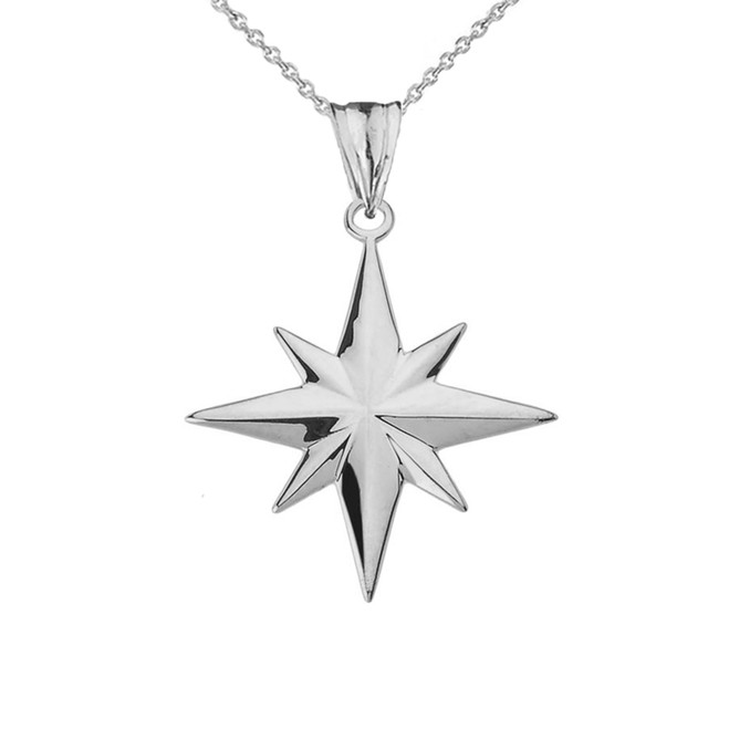 North Star Pendant Necklace in White Gold
