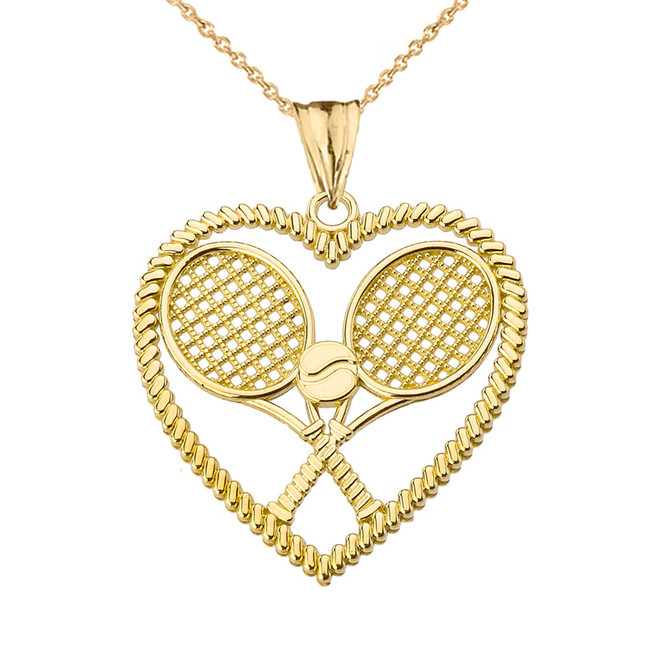 Detailed Tennis Rackets in Heart Pendant Necklace in Yellow Gold