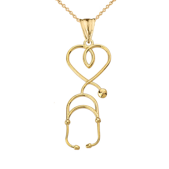 Stethoscope Heart Pendant Necklace in Yellow Gold