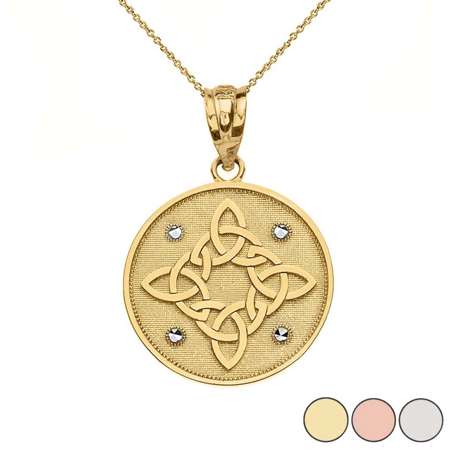 Diamond Cut Celtic Trinity Knot Circle Pendant Necklace in Gold (Yellow/Rose/White)