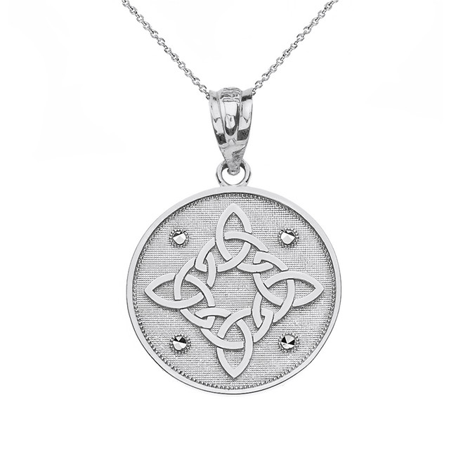 Sterling Silver Diamond Cut Celtic Trinity Knot Circle Pendant Necklace