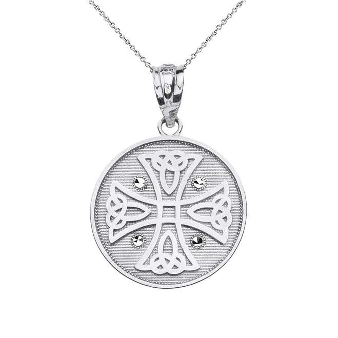 Solid White Gold Diamond Cut Celtic Knot Cross Disc Medallion Pendant Necklace