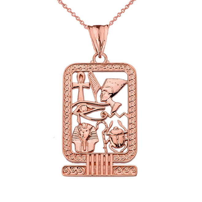 Ancient Egyptian Cartouche Pendant Necklace in Rose Gold