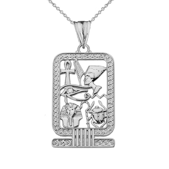 Ancient Egyptian Cartouche Pendant Necklace in White Gold