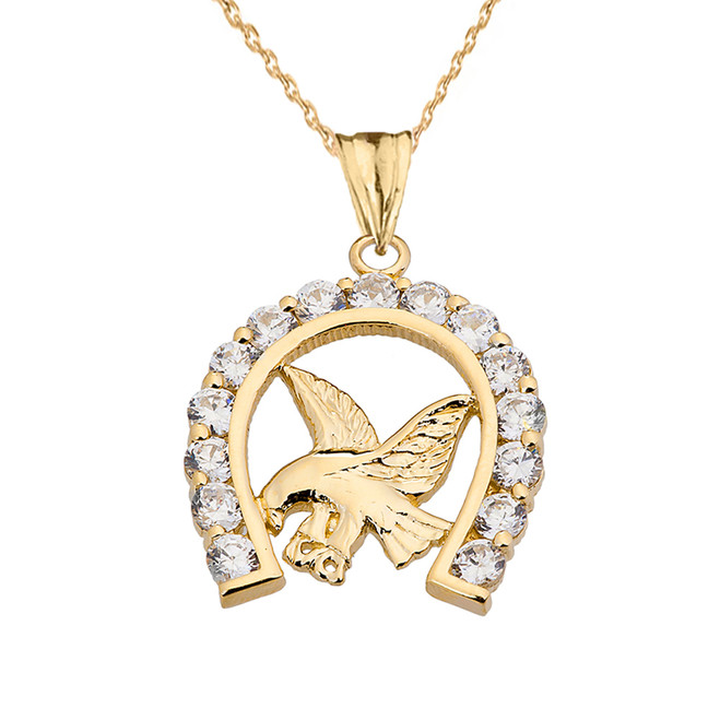 American Eagle in CZ Horseshoe Pendant Necklace in Yellow Gold