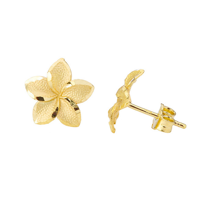 Plumeria Flower Stud Earrings in Yellow Gold
