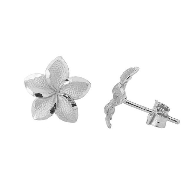 Plumeria Flower Stud Earrings in White Gold