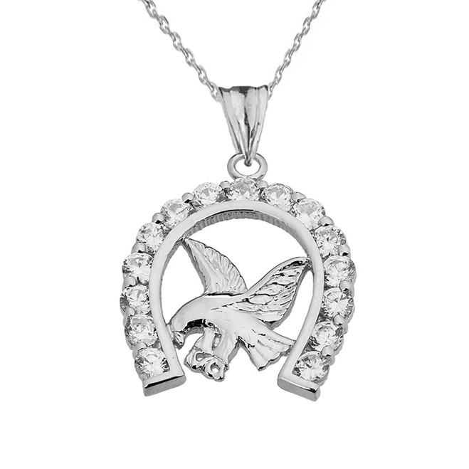 American Eagle in CZ Horseshoe Pendant Necklace in White Gold