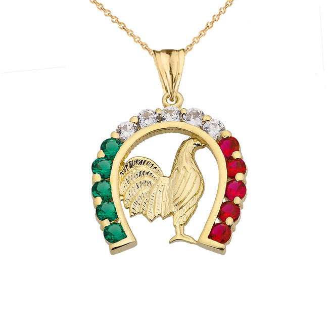 Mexican Horseshoe with Rooster Pendant Necklace in Yellow Gold