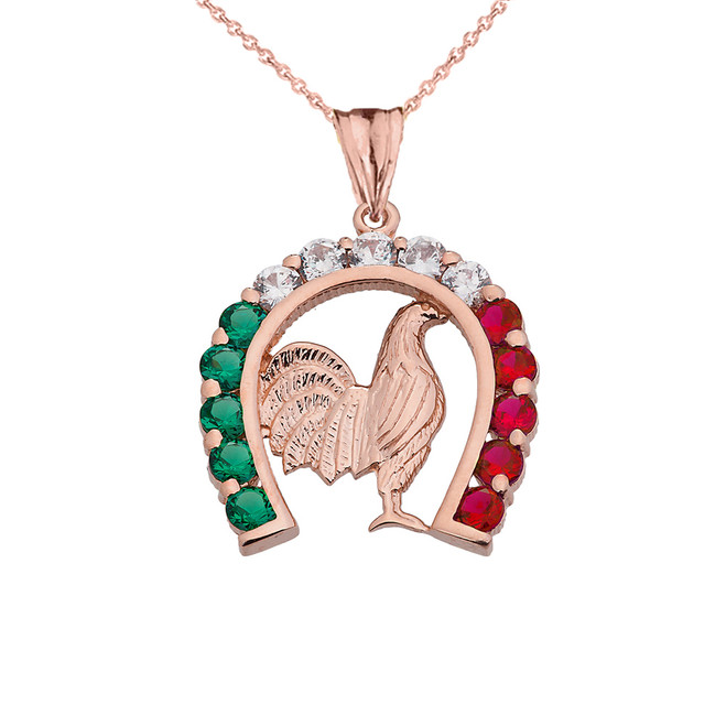 Mexican Horseshoe with Rooster Pendant Necklace in Rose Gold