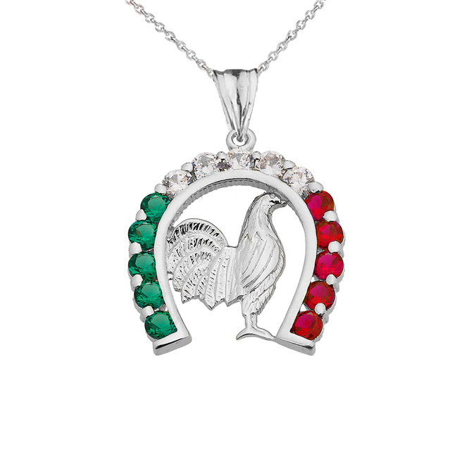 Mexican Horseshoe with Rooster Pendant Necklace in White Gold