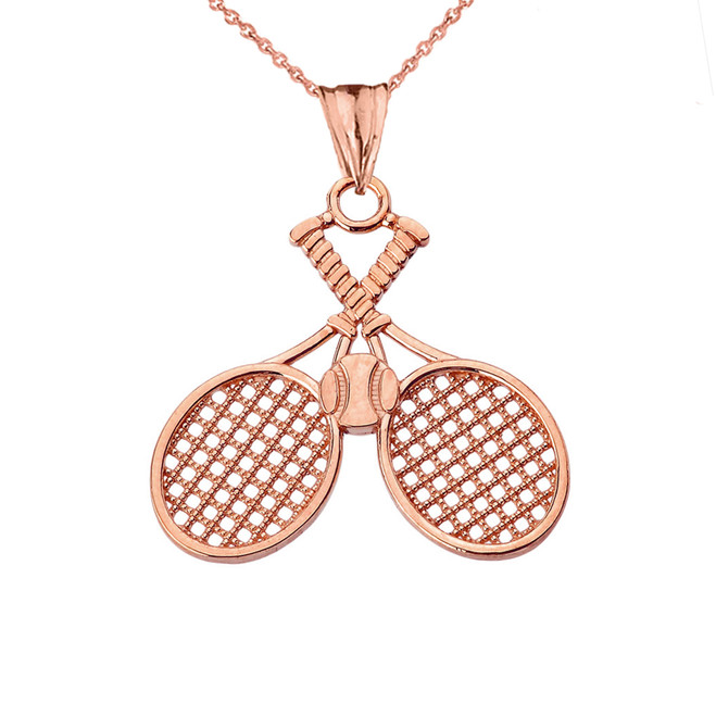 Detailed Tennis Rackets Pendant Necklace in Rose Gold