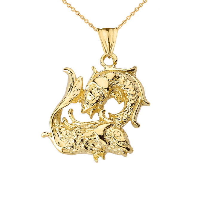 Pisces Pendant Necklace in Yellow Gold