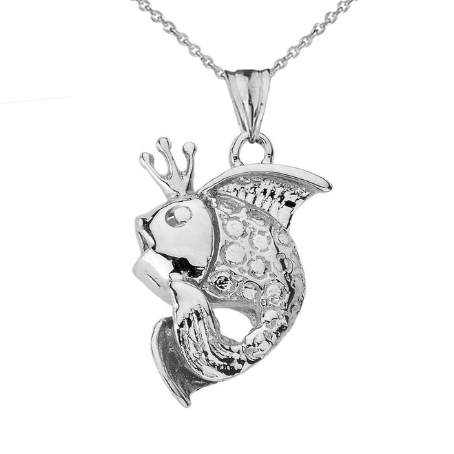 King Gold Fish Pendant Necklace in Sterling Silver