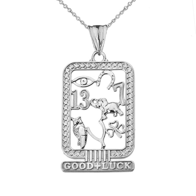 Ancient Egyptian Good Luck Cartouche Pendant Necklace in White Gold