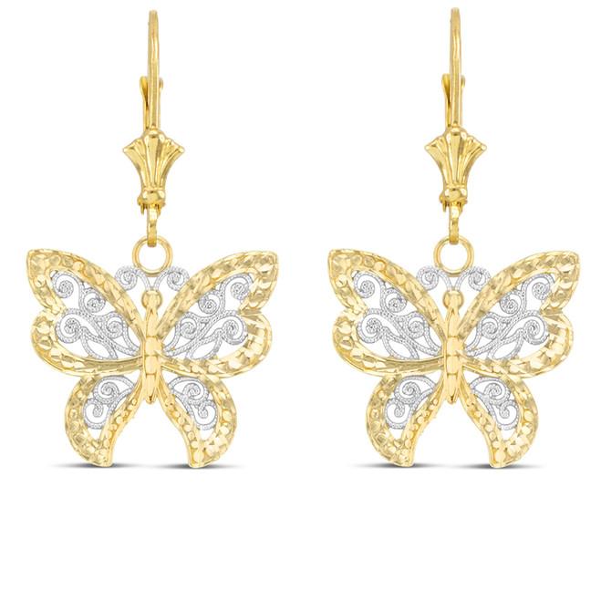 Filigree Butterfly Earrings in Two-Tone Yellow Gold