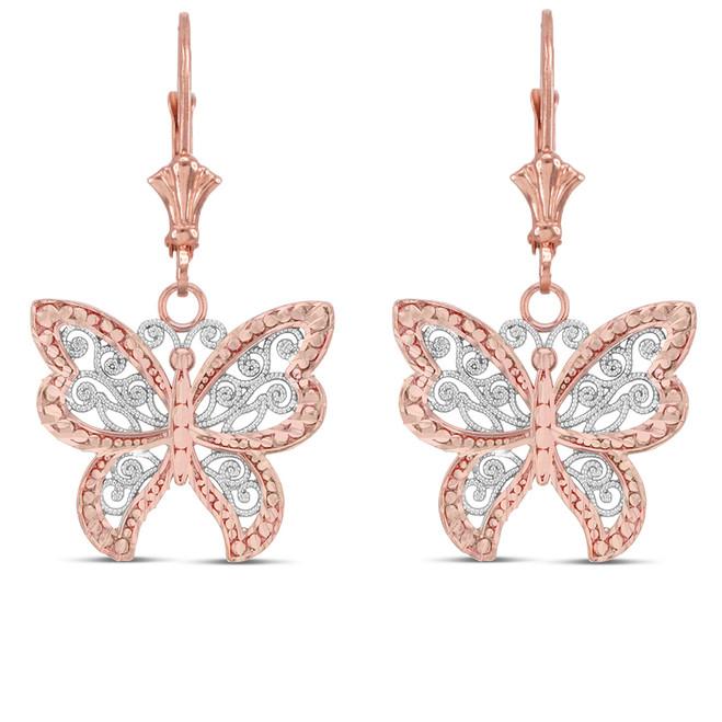 Filigree Butterfly Earrings in Two-Tone 14K Rose Gold
