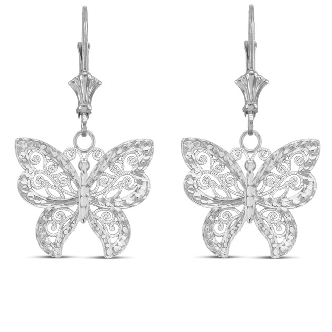 Filigree Butterfly Earrings in Sterling Silver