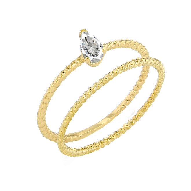 Modern Dainty CZ Pear Shape Rope Ring Stacking Set in Yellow Gold