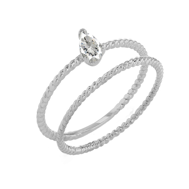 Modern Dainty CZ Pear Shape Rope Ring Stacking Set in White Gold