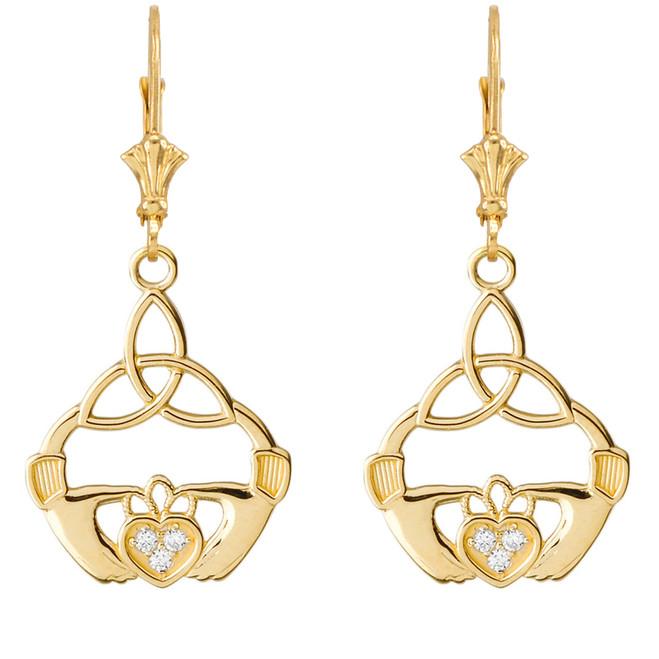 Diamond Trinity Knot Earrings in Yellow Gold