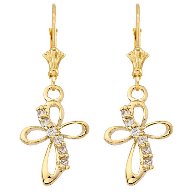 Dainty Modern Cross Cubic Zirconia Earrings in Yellow Gold