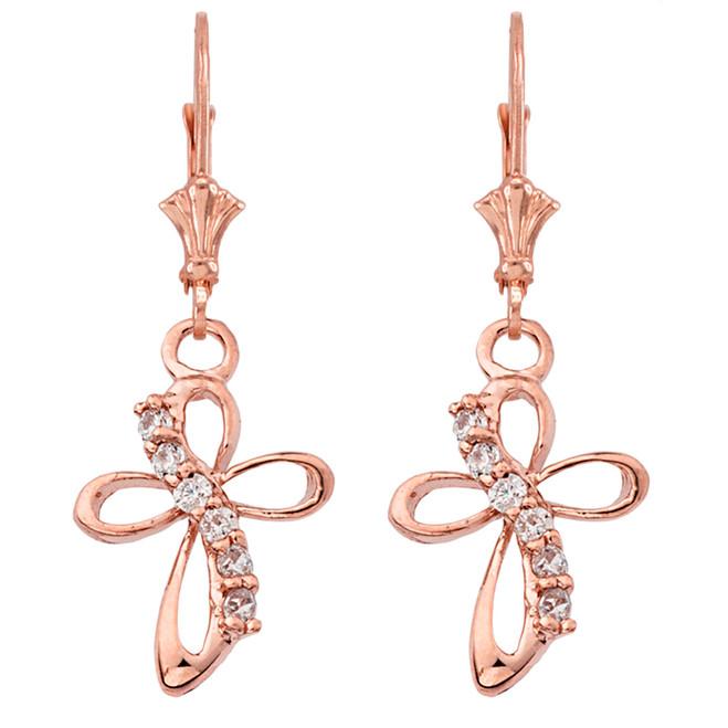 Dainty Modern Cross Cubic Zirconia Earrings in 14K Rose Gold