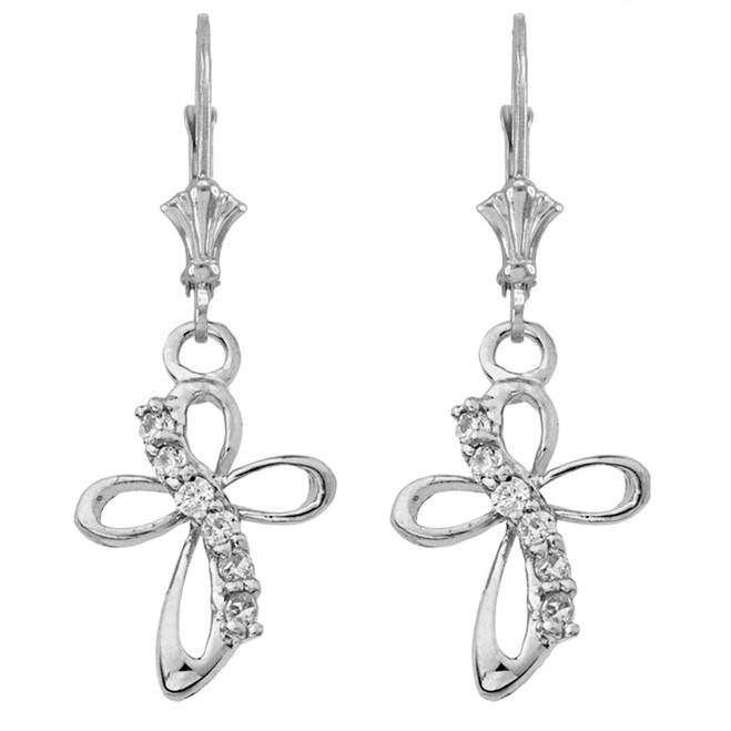 Dainty Modern Cross Cubic Zirconia Earrings in 14K White Gold