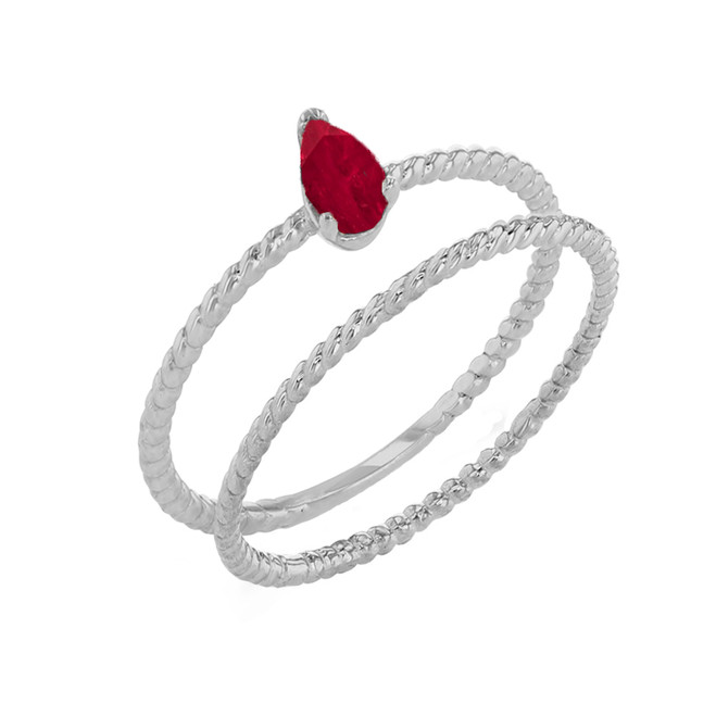 Modern Dainty Genuine Ruby Pear Shape Rope Ring Stacking Set in White Gold
