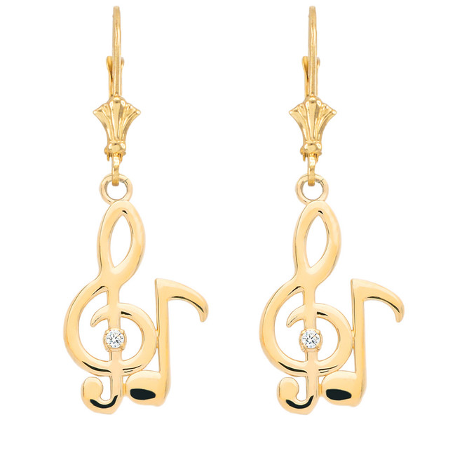 Diamond Treble Clef & Eighth Note Music Earrings in Yellow Gold