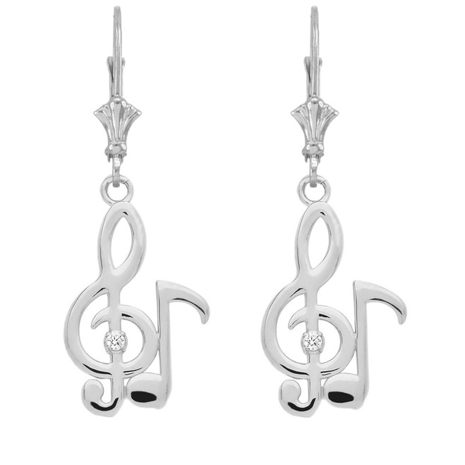 Diamond Treble Clef & Eighth Note Music Earrings in 14K White Gold