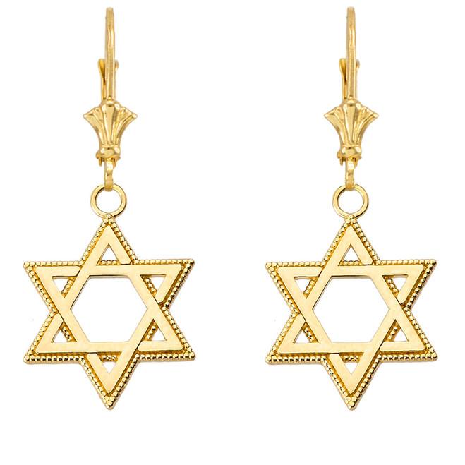"Milgrain Jewish Star of David Earrings (1.35"") in Yellow Gold"