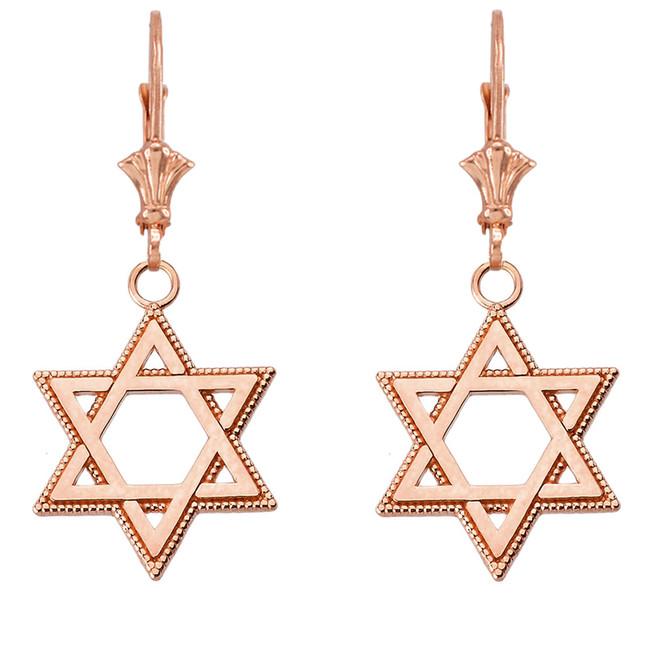 """Milgrain Jewish Star of David Earrings (1.35"""") 14K Rose Gold"""