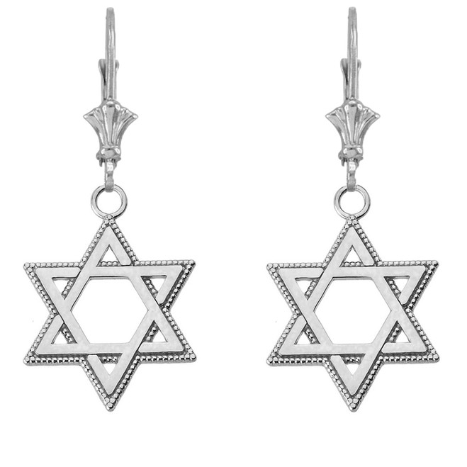 "Milgrain Jewish Star of David Earrings (1.35"") 14K White Gold"