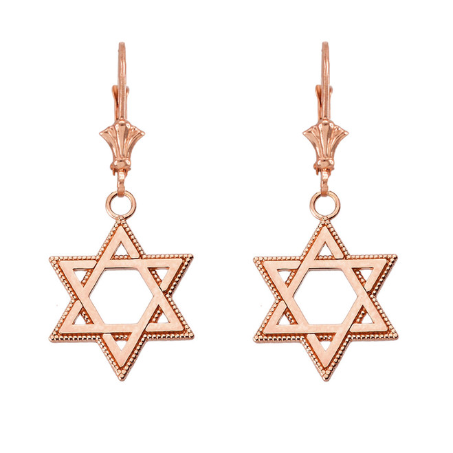 """Milgrain Jewish Star of David Earrings (1.24"""") in 14K Rose Gold"""