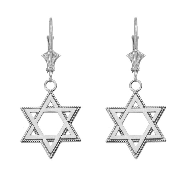 "Milgrain Jewish Star of David Earrings (1.24"") in 14K White Gold"