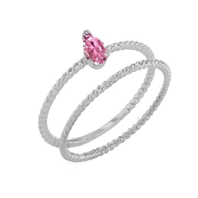 Modern Dainty Pink CZ Pear Shape Rope Ring Stacking Set in White Gold