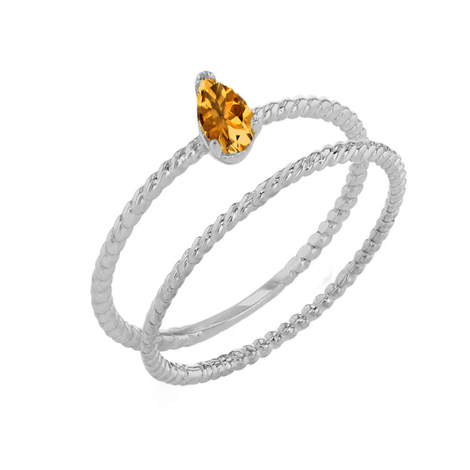 Modern Dainty Genuine Citrine Pear Shape Rope Ring Stacking Set in White Gold
