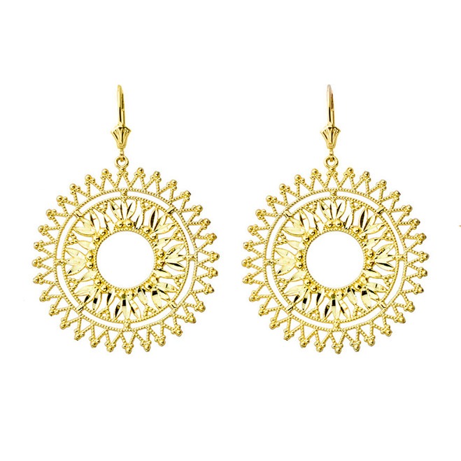 Handmade Designer Bohemian Statement Earrings in Yellow Gold