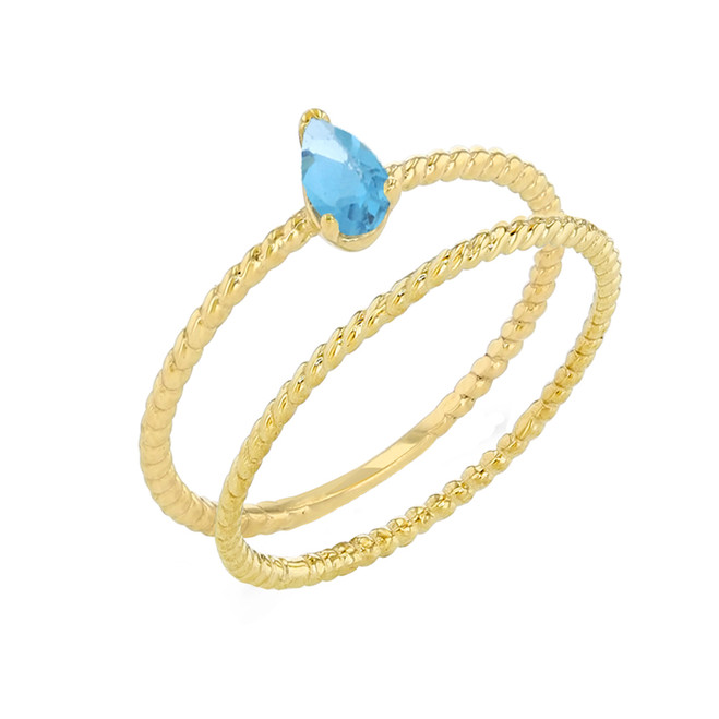 Modern Dainty Genuine Blue Topaz Pear Shape Rope Ring Stacking Set in Yellow Gold