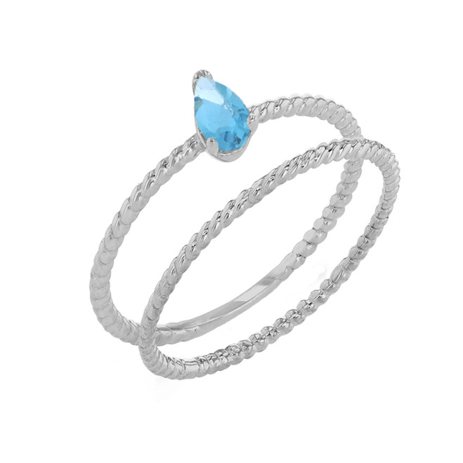 Modern Dainty Genuine Blue Topaz Pear Shape Rope Ring Stacking Set in White Gold