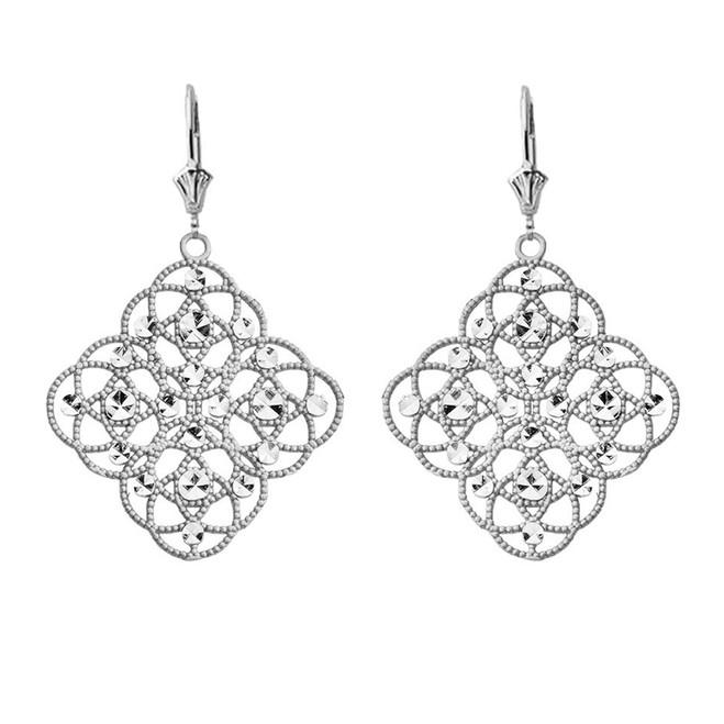 Handmade Designer Boho Chic Statement Earrings in 14K White Gold
