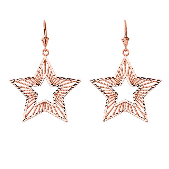 Handmade Designer Boho Chic Star Statement Earrings in 14K Rose Gold